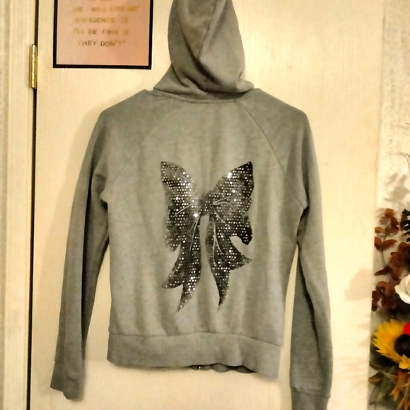 (2for$10) Small Sequin Bow Hooded Zip Up Jacket